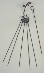 "6 skewers: 15"" Hook: about 6"" $50 additional skewers: $5"